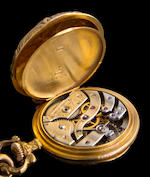 Patek Philippe & Cie. A very fine and rare 18K gold lady's pendant watch and chain with repousssé case depicting Hercules, Omphale and CupidCase no. 227903, Movement no. 117895, Circa 1900