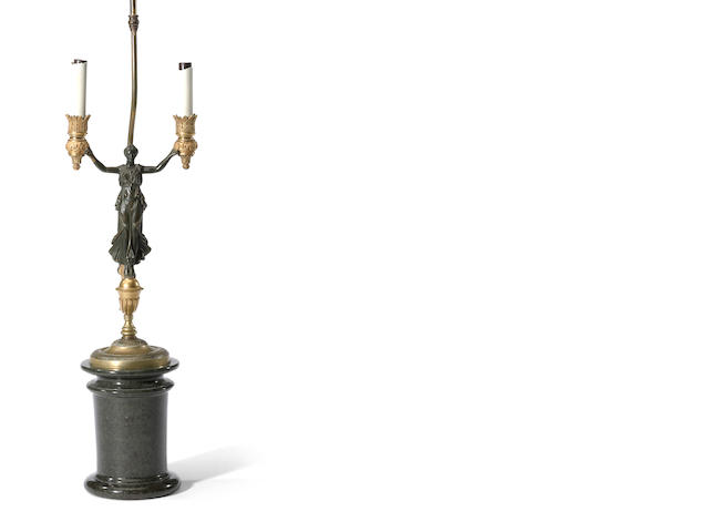 An Empire style patinated and gilt-bronze two light figural candelabra<BR />19th century