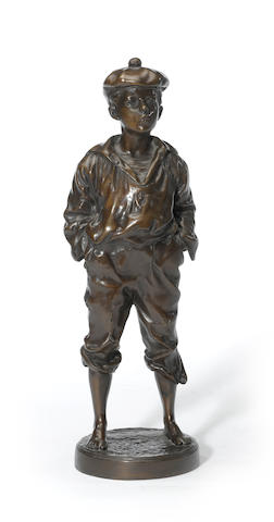 A patinated bronze figure of a boy: Le Siffleur<BR />after a model by Victor (Vaclaw) Bernard Szczeblewski (?- 1901)<BR />fourth quarter 20th century