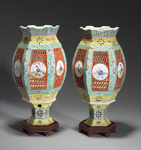 A pair of enameled porcelain lanterms