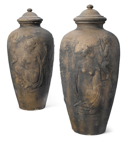 Two monumental Rookwood pottery covered garden urns 1926, Ernest Bruce Haswell