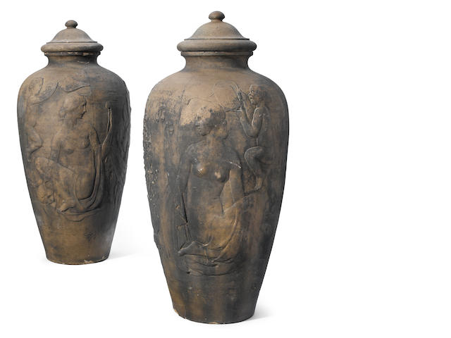 Two large Rookwood pottery covered garden urns 1926, Ernest Bruce Haswell