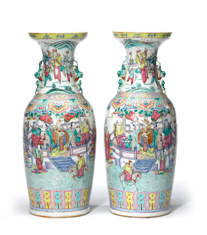 A pair of famille rose enameled porcelain baluster vases with figural decoration Late 19th century