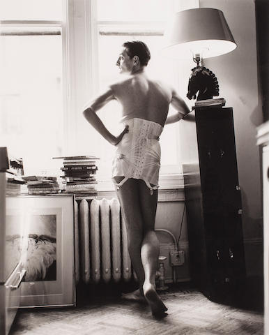 Photograph of Hamish Bowles in a Corset, Steven Meisel