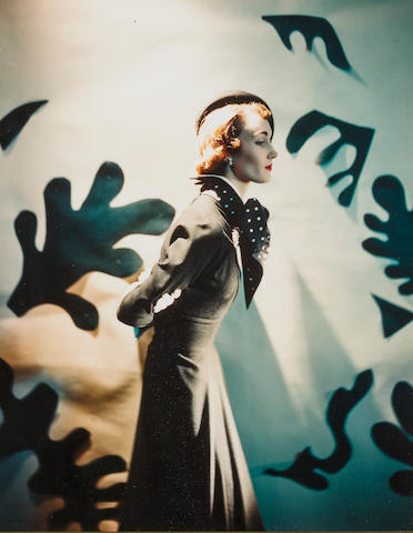 Cecil Beaton Lady in front of Matisse Cutouts Color Photograph h x w: 13 x 10 in.  Condition: No tears, etc.