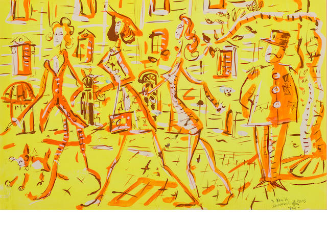 Yan Basely, Shopping Street (Paris) Inscribed 'To Hamish/Souvenir from Paris/Yan-' (lower right) Gouache on paper h x w: 12 ½ x 19 ½ in.