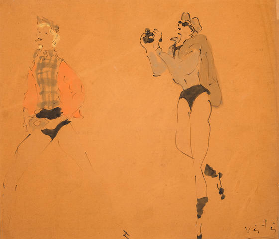 Marcel Vertes, Figure Sketches with Camera Signed 'Vartas' (lower right) Gouache and ink on paper h x w: 15 ¾ x 18 ¼ in. sight