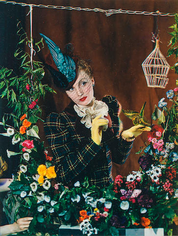 Madame Yevonde (United Kingdom) Woman with Yellow Gloves and Bird Color photograph Original image 1938/39, 1980s reprint h x w: 16 x 12 in.