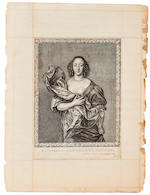 Six Prints After Van Dyke, The Mistresses of Charles II, later copies of 18th c. examples in orignal mounts, Each, approximately h x w: 21 ½ x 11 in.