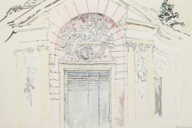 John Linfield (United Kingdom) Nymphenburg Palace, Munich signed and dated 'John Linfield 1960' (lower right) ink and watercolor on paper h x w: 15 x 22 ½ in.