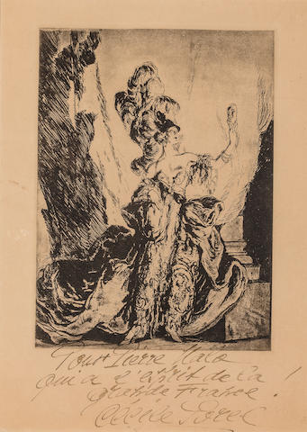 Etienne Drian The Actress (Cecile Sorel) etching inscribed by another hand (Cecil Sorel)  h x w: 16 ½ x 12 in. overall 12 x 9 in. image