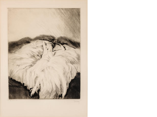 Etienne Drian Sleeping Woman Signed 'Drian' (Lower left) and inscribed (lower left) Etching h x w: 22 x 16 in. overall 17 x 13 in. image