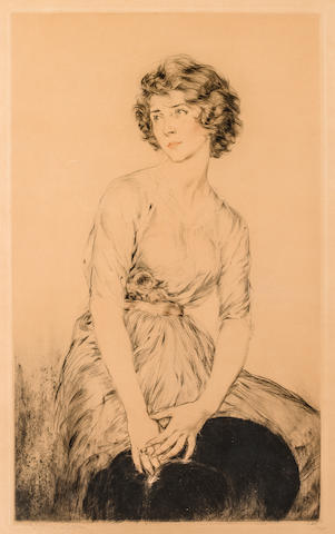 Etienne Drian Seated Woman Looking Away Signed 'Drian' (lower left) and inscribed (lower right) Etching h x w: 31 x 21 in. overall 24 x 14 in. image