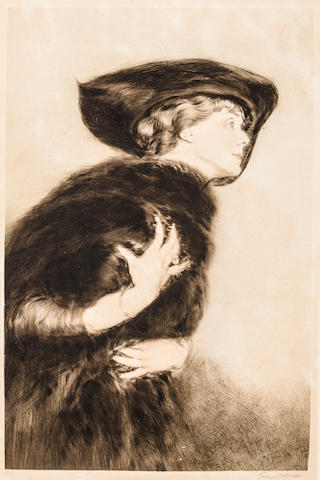 Etienne Drian Woman in Fur Signed 'Drian' (lower right) and inscribed '66/100' (lower left) Etching h x w: 30 x 21 ½ in. overall 23 ¼ x 15 ½ in. image