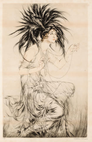 Etienne Drian Woman (Gaby Deslys) with Headdress Signed 'Etienne Drian' (lower right) and inscribed '80/200' (lower left) Etching h x w: 35 1.2 x 25 in. overall 25 x 15 ½ in. image