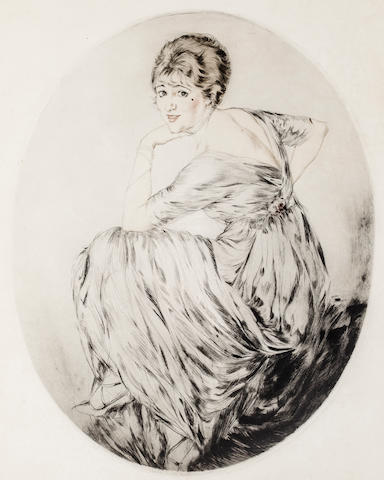 Etienne Drian Lady (Gaby Deslys) Looking over Shoulder Signed 'Etienne Drian' (lower right) Etching h x w: 23 1/4 x 19 in. overall 20 x 15 in. image