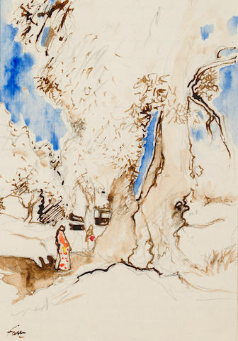 Fauve, The Diplomatic Forest in Tangier, Morocco Signed 'Fauve' (lower left) Watercolor and pencil on paper h x w: 11 ½ x 8 in.
