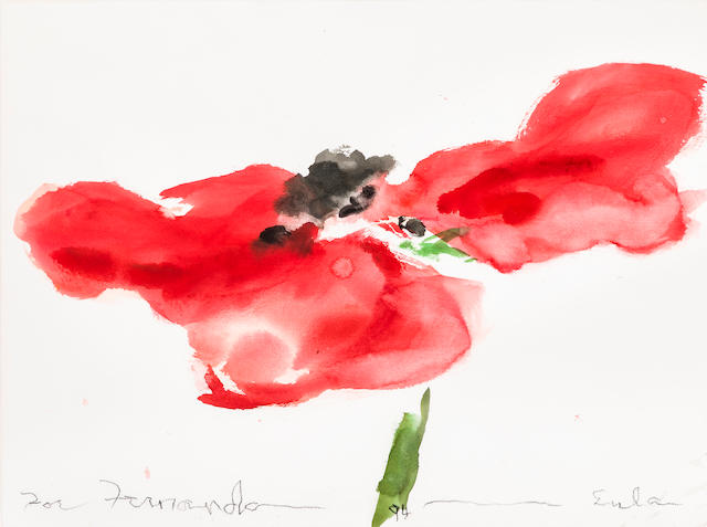 Joe Eula Poppy  Signed, dated and inscribed 'For Fernando – 94 – Eula' (along lower margin) Watercolor on paper h x w: 22 x 30 in. (55.88 x 76.2cm)