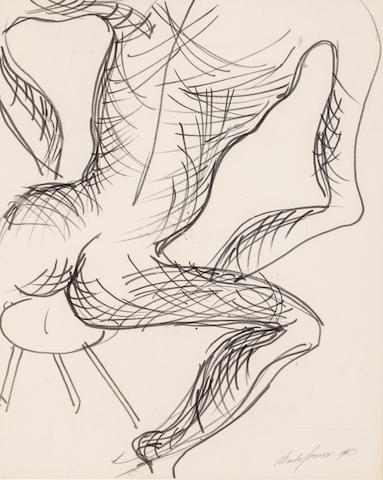 Charles James Nude on a Stool Signed and dated 'Charles James 1963' (lower right) Marker and ink on paper laid down on board h x w: 16 ½ x 13 ½ in. (41.91 x 34.29cm)