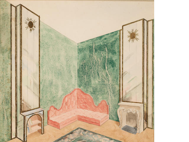 European, 20th Century Interior Design Drawing, late 1930s Pencil and watercolor on paper h x w: 12 x 13 ½ in. (30.48 x 34.29cm)