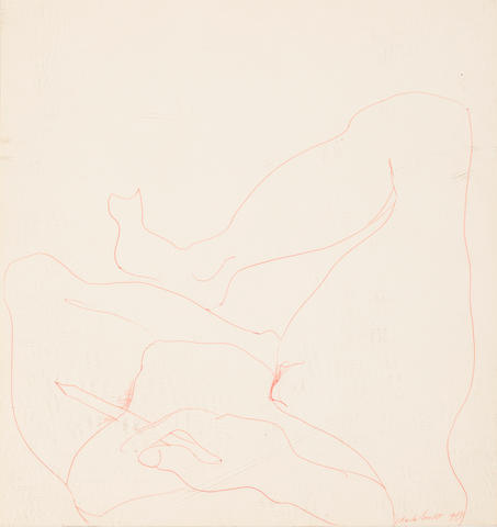 Charles James Self Portrait Signed and dated 'Charles James 1963' (lower right) Red pen on paper laid down on board h x w: 15 x 14 in. (38.1 x 35.56cm)