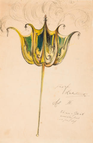 Leslie Hurry Opera Designs: Two Works  The first: Design for Earrings for Debutants, Act III (Ballet: Le Lac des Cygnes, 1943) Ink and watercolor and silver on paper See Photo for Inscription h x w: 10 1/2 x 16 in. image (26.67 x 40.64cm) 13 ¾ x 18 in. overall &The Second: Fans for Act III (Ballet: unknown?) See Photo for inscription Watercolor and ink on paper h x w: 14 ¾ x 9 ¾ in.  (34.46 x 24.76cm)