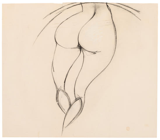 Charles James Nude Bottom Charcoal on paper laid down on paper h x w: 18 x 15 ½ in. (45.7 x 39.37cm)
