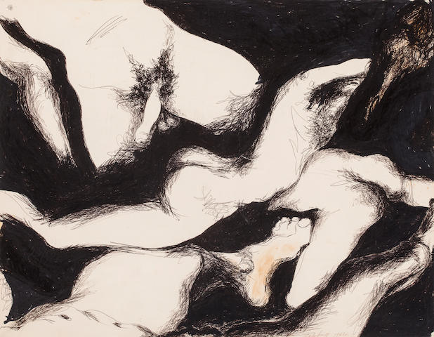 Charles James Nude Group Signed and dated 'Charles James 1964' (lower right) Marker and ink on paper laid down on board h x w: 18 ½ x 24 in. (47 x 61cm)