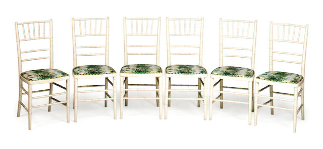 Set of six faux bamboo ballroom chairs, 20th c., Casa Pupo, white painted wood with foliate/fern printed fabric (Mrs. Jean Monro) seats, h x w x d (of seat): 36 12 x 16 x 15 1/2 in. (92.5 x 40.5 x 39cm)