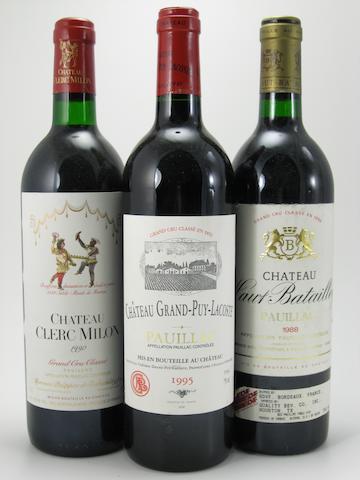 Château Haut-Batailley 1988 (2)<BR />Château Clerc-Milon 1990 (3)<BR />Château Grand-Puy-Lacoste 1995 (7)