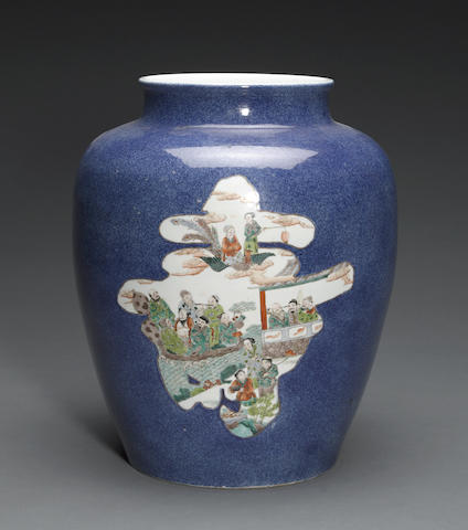 A powder blue and famille verte enameled porcelain jar 19th century