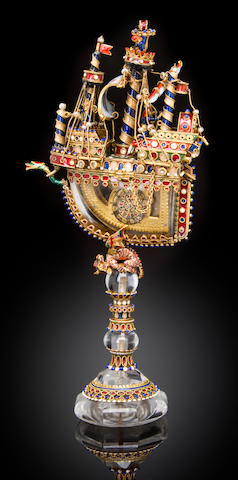 A fine and rare Renaissance revival enameled gold and rock crystal miniature nef containing a watchapparently unmarked, probably Austrian or German, last quarter 19th century