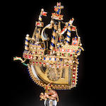 A Renaissance revival enameled miniature nef in the style of Herman Boehm, Vienna, third quarter 19th century, subject to inspection to determine if silver gilt or gold