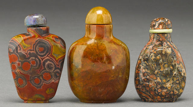 A group of three hardstone bottles