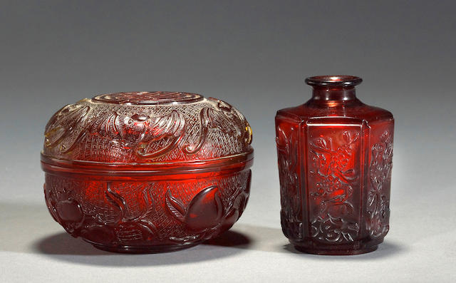 Two red Peking glass decorations Qianlong marks, Republic period