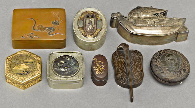A group of eight small metal boxes<BR />Most Meiji period