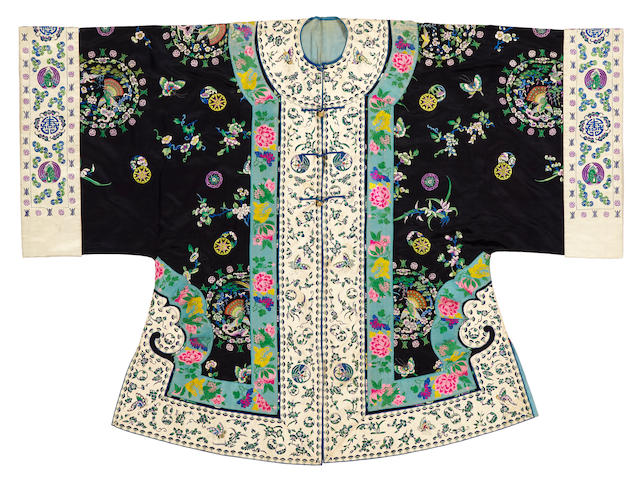 A lady's deep blue silk ground embroidered overcoat, weitao Late 19th century