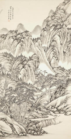 Two scrolls: Li Xi (20th century) Fall landscape, ink & colors on silk and Li Jingchen (20th century) Ink landscape, ink on paper
