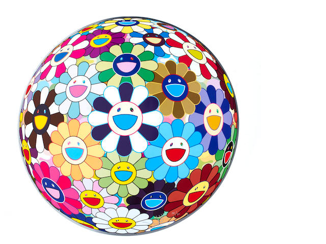 Takashi Murakami (born 1962) Flowerball 3D Kindergarten (diameter 71cm) offset print, cold silver and high gloss varnishing
