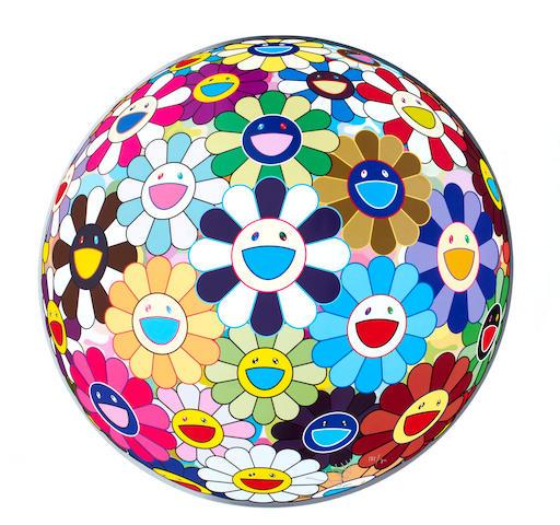 Takashi Murakami (born 1962) Flowerball 3D Kindergarten (diameter 71cm) offset print, cold silver and high gloss varnishing