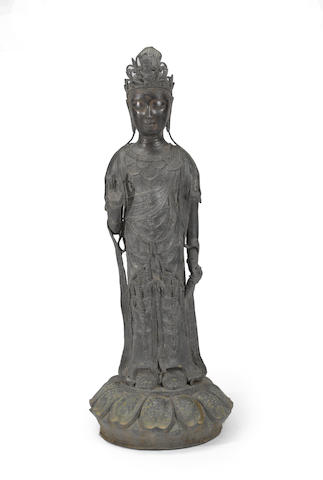 A pieced bronze standing figure of Guanyin Late Qing/Republic period