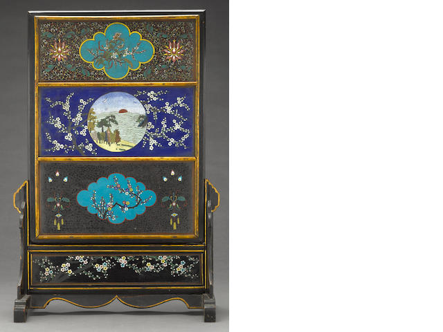 An inscribed lacquered wood table screen with attached cloisonné enameled metal plaques Republic period, dated 1922