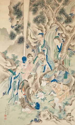 Thirty-six immortal poets, ink and color on paper. hanging scroll