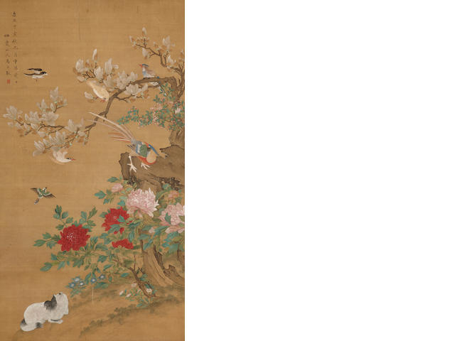 Anonymous(19th/20th c.): Birds and Flowers, hanging scroll