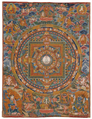 An Avalokiteshvara mandala thangka  20th century