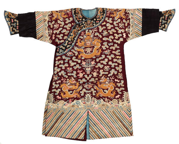 A purple ground embroidered silk dragon robe, chao fu Late 19th century