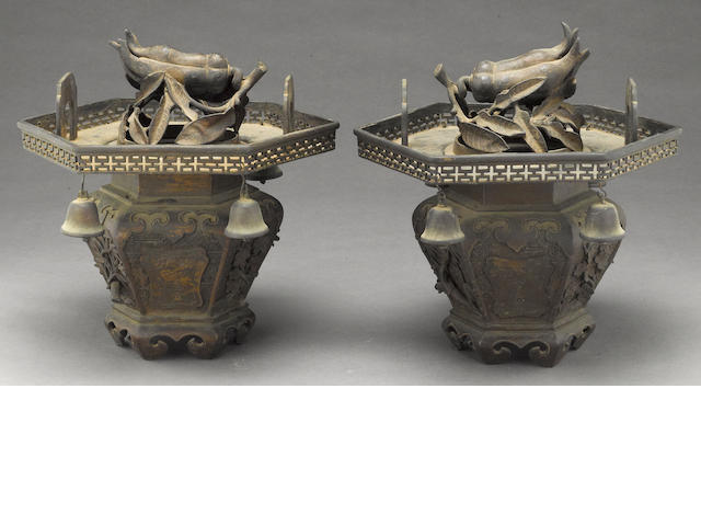 A pair of pieced bronze hexagonal censers and covers Late Qing dynasty