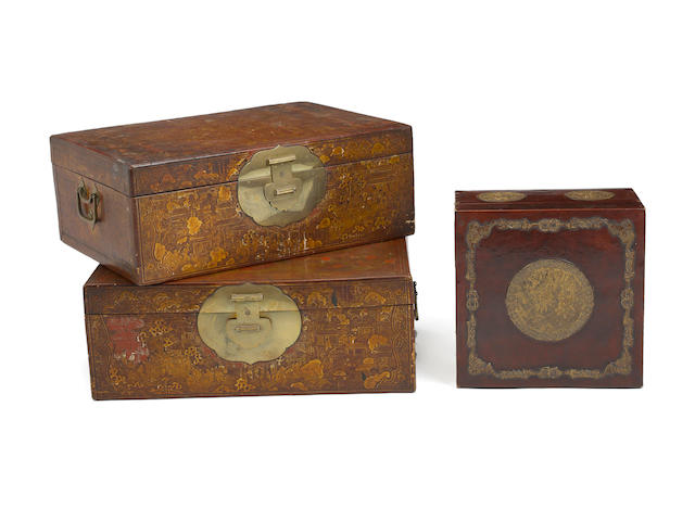 Three lacquer decorated trunks Late Qing dynasty