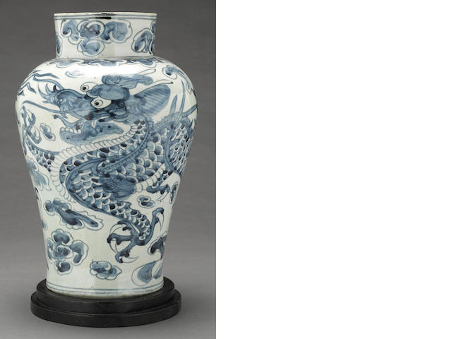 A blue and white porcelain dragon jar Joseon Dynasty
