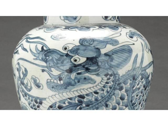A blue and white porcelain dragon jar Joseon Dynasty